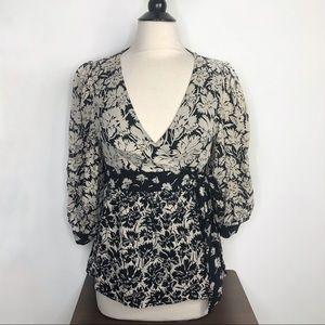 Tibi 100% Silk Floral Print Wrap Shirt